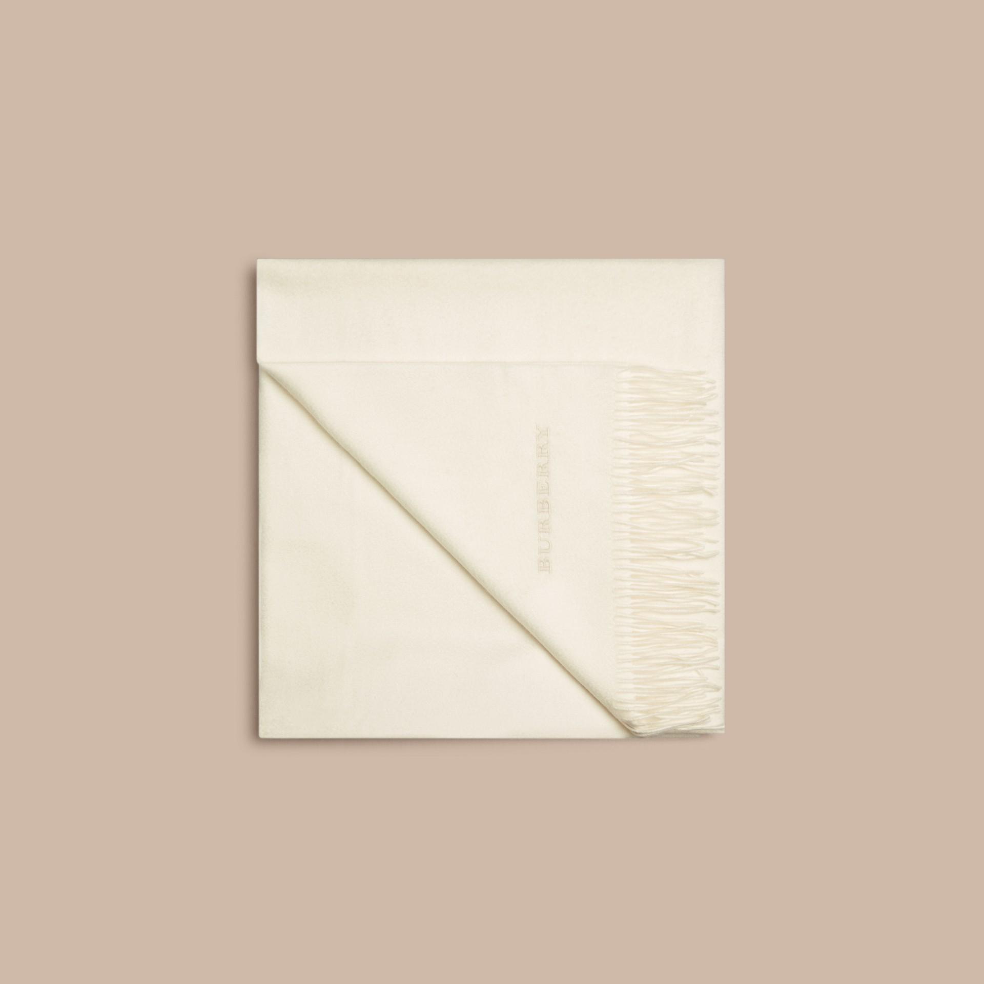 Blanc naturel Couverture en cachemire Blanc Naturel - photo de la galerie 4