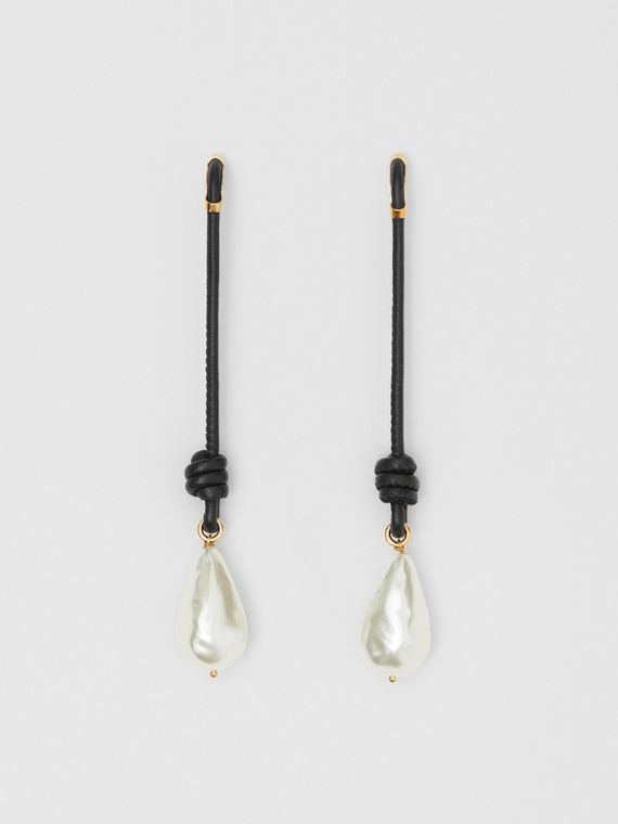 Faux Pearl Detail Leather Drop Earrings in Light Gold/black
