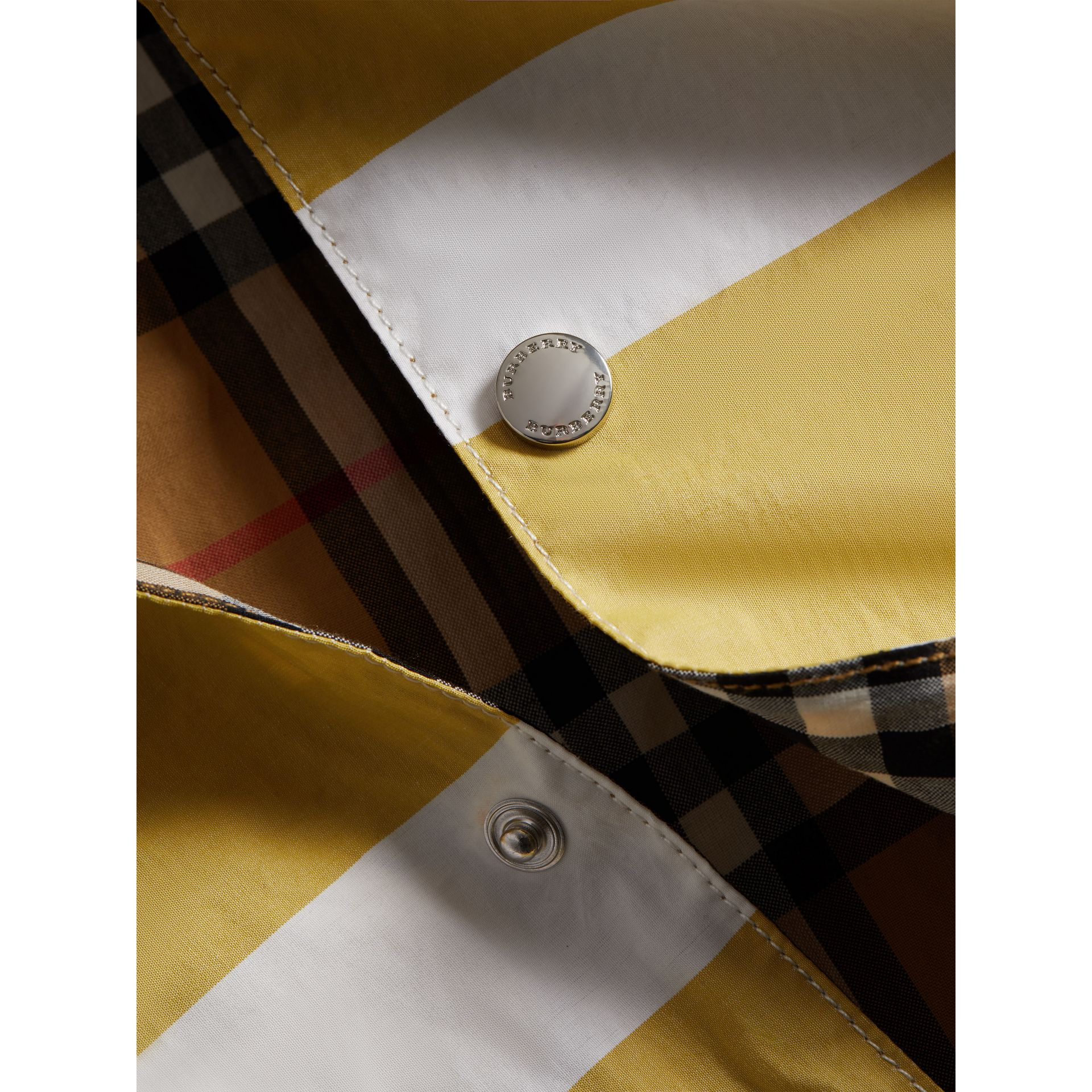 Reversible Stripe and Vintage Check Cotton Jacket in Larch Yellow/whte - Boy | Burberry - gallery image 1