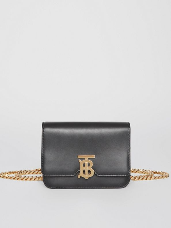 Belted Leather TB Bag in Black