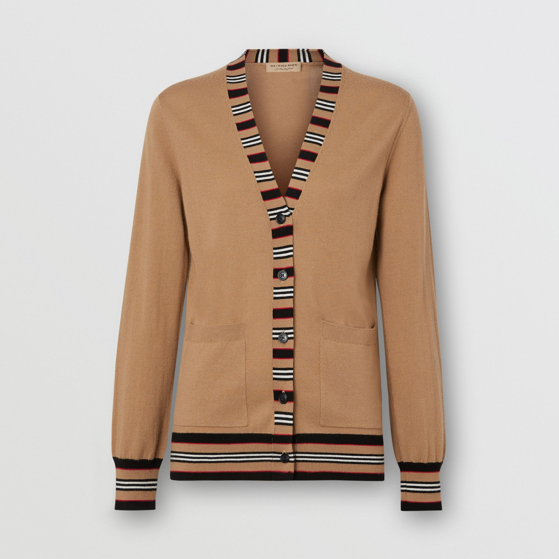 Icon Stripe Detail Merino Wool Cardigan in Camel - Women | Burberry - gallery image 3