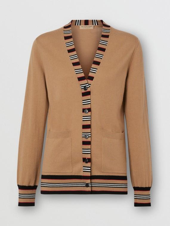 Icon Stripe Detail Merino Wool Cardigan in Camel