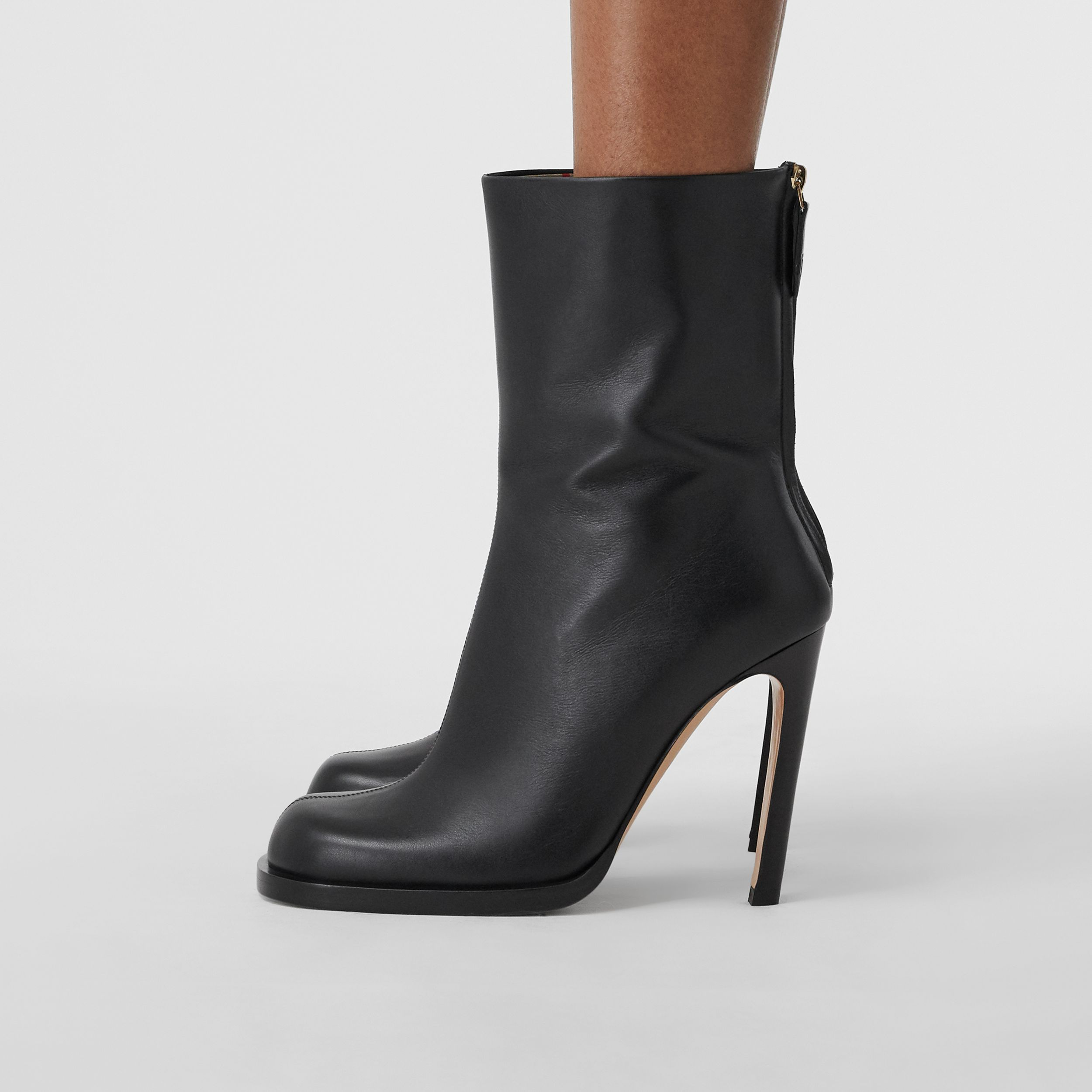 Vintage Check-lined Leather Ankle Boots in Black - Women | Burberry - 3