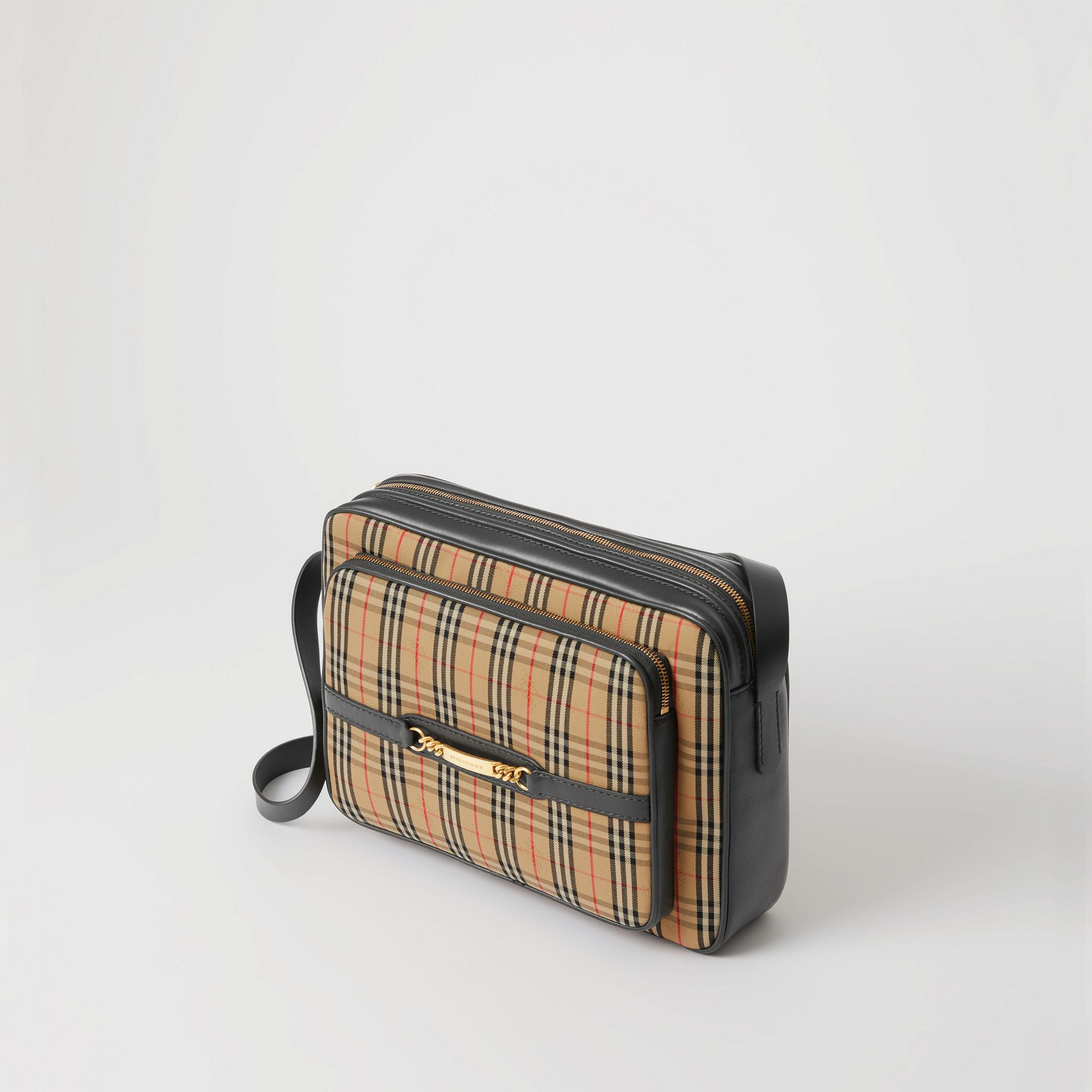 The Large 1983 Check Link Camera Bag in Black - Men | Burberry United Kingdom - gallery image 3