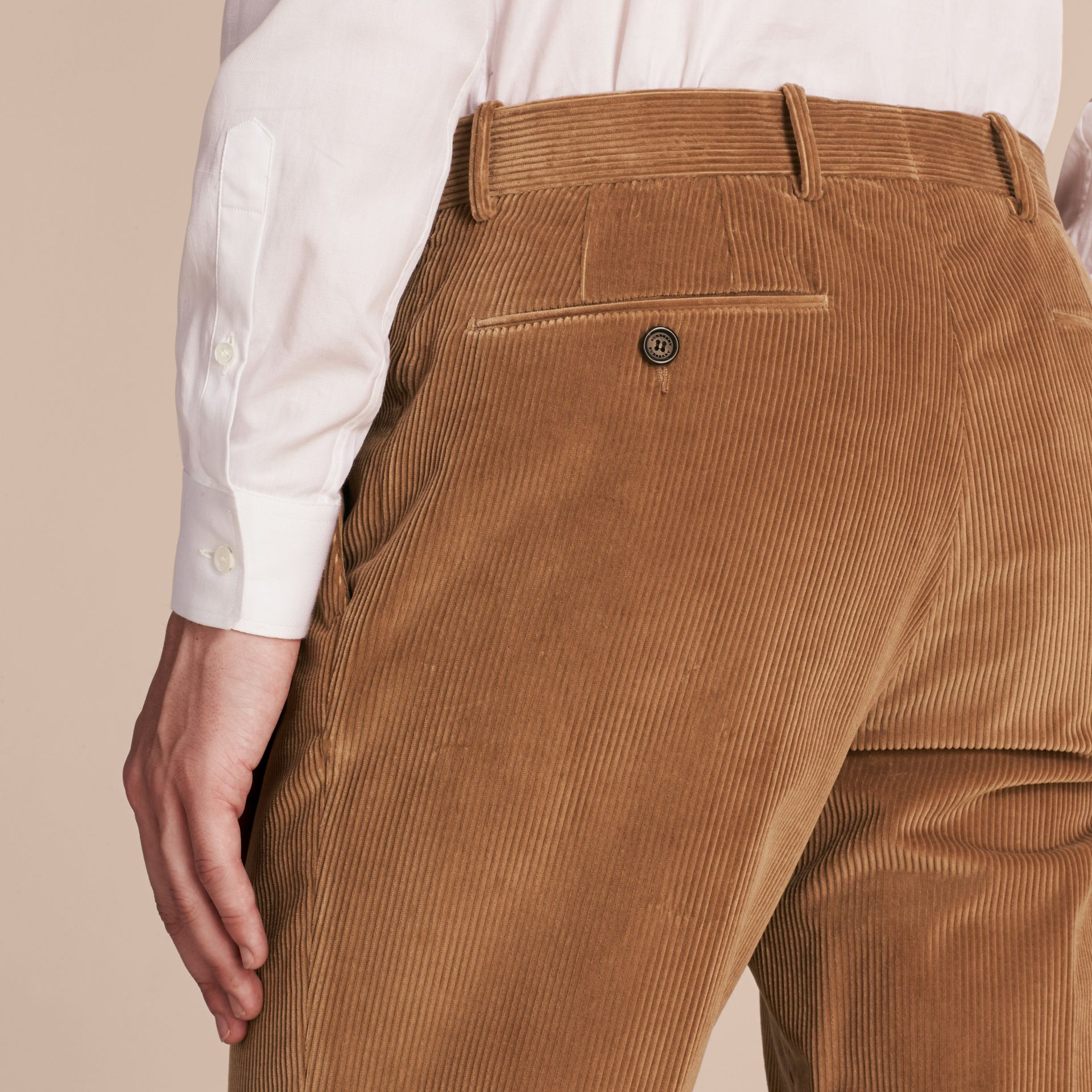Camel Slim Fit Cotton Corduroy Trousers Camel - gallery image 5
