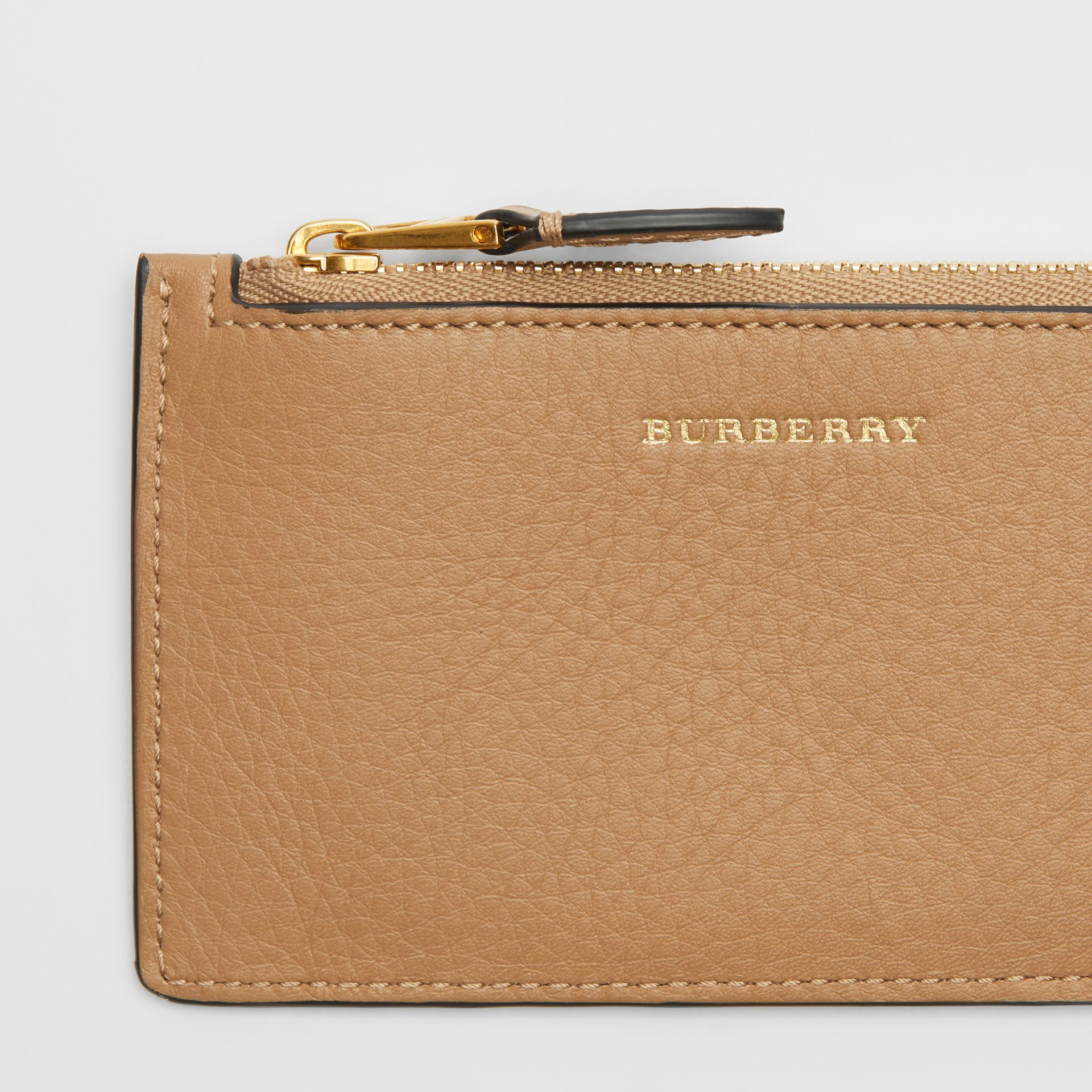 Two-tone Leather Card Case in Light Camel - Women | Burberry - gallery image 1