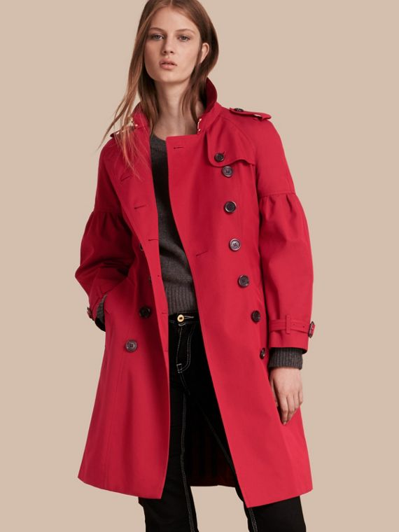 Cotton Gabardine Trench Coat with Puff Sleeves Parade Red