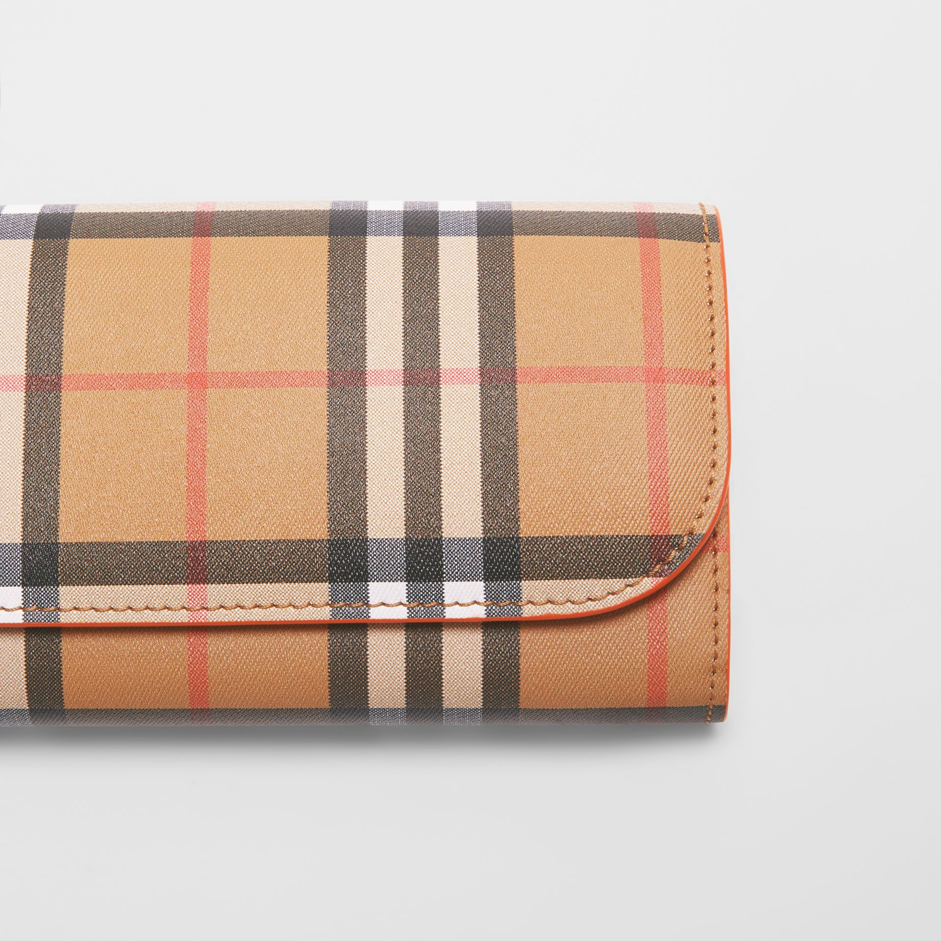 Vintage Check and Leather Continental Wallet in Clementine - Women | Burberry Australia - gallery image 1