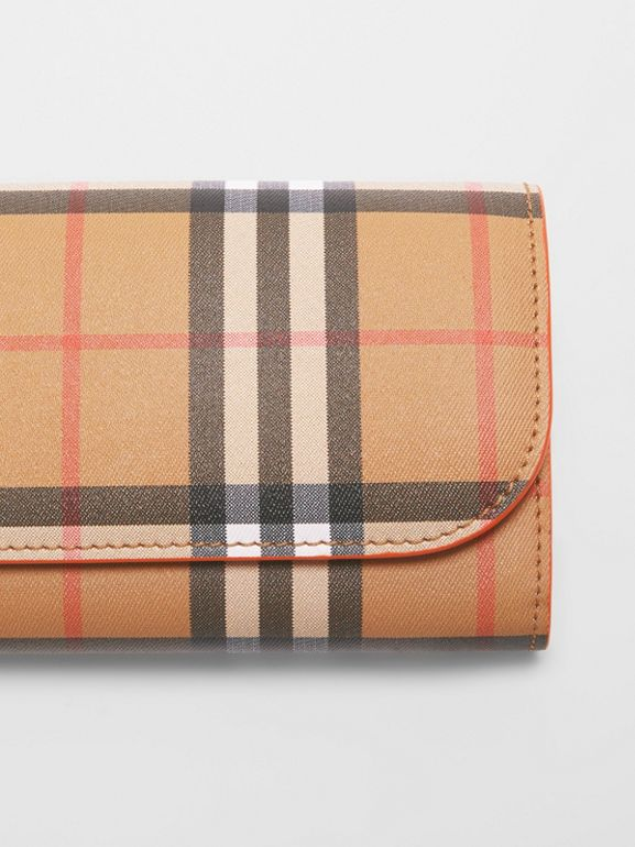 Vintage Check and Leather Continental Wallet in Clementine - Women | Burberry Australia - cell image 1