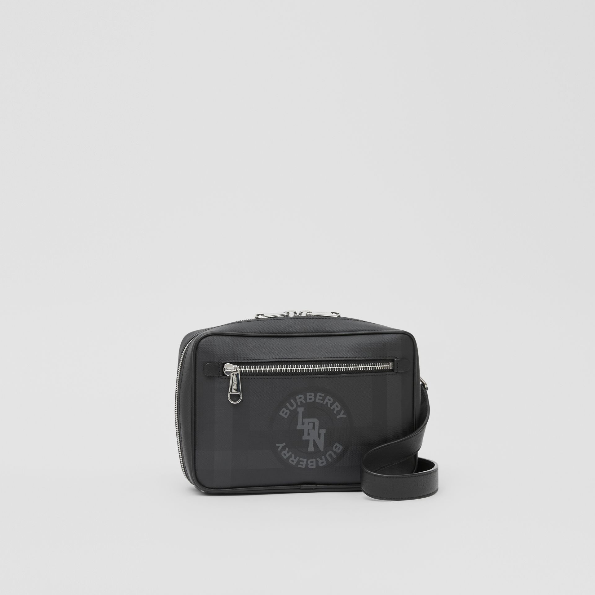 Logo Graphic London Check Crossbody Bag in Dark Charcoal - Men | Burberry - gallery image 6