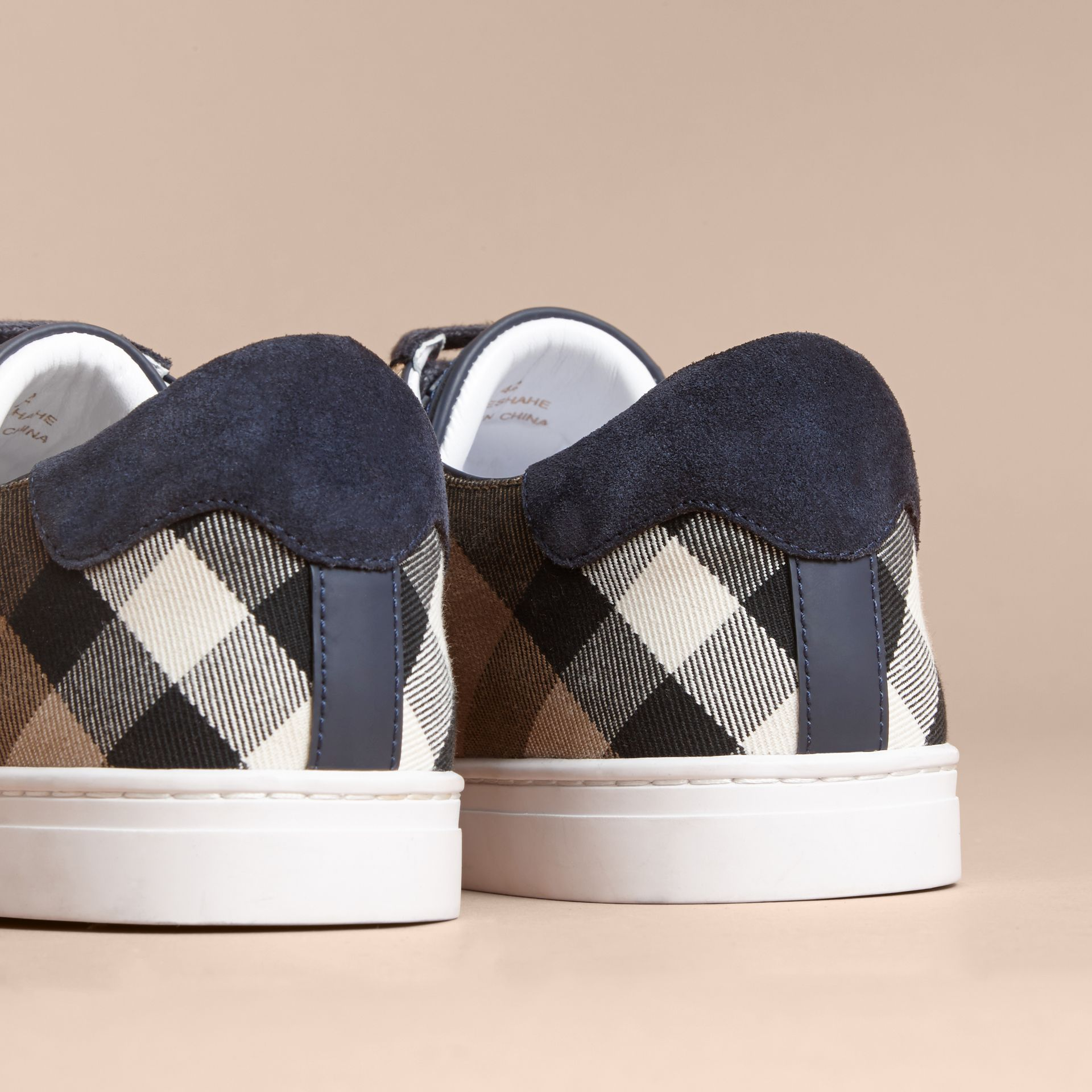 Leather and House Check Trainers in Navy - Men | Burberry - gallery image 3