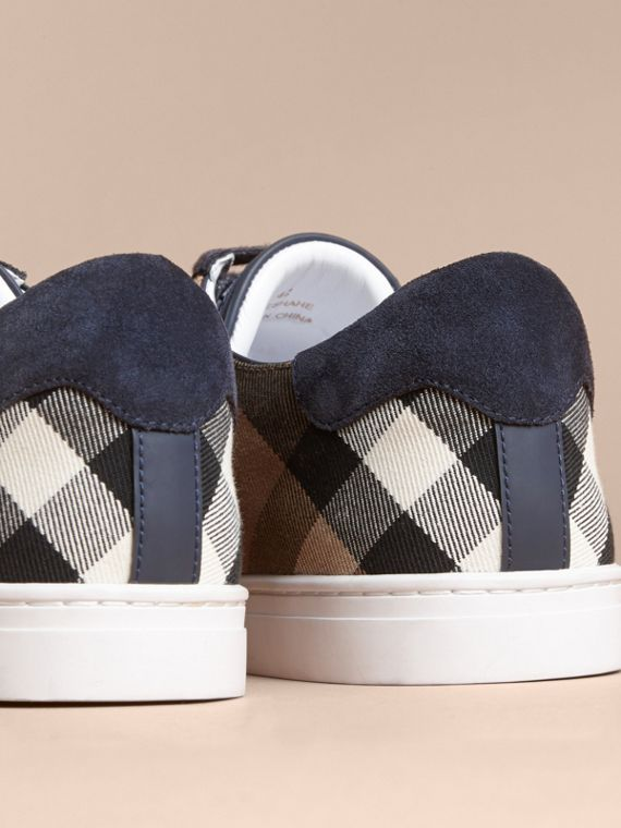 Leather and House Check Trainers in Navy - Men | Burberry - cell image 3