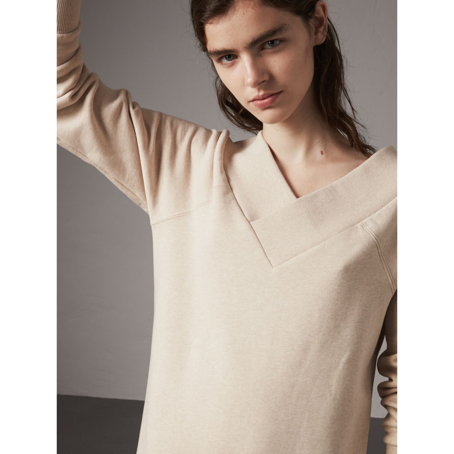 Cotton Blend V-neck Sweater Dress in Oatmeal Melange - Women | Burberry - gallery image 5