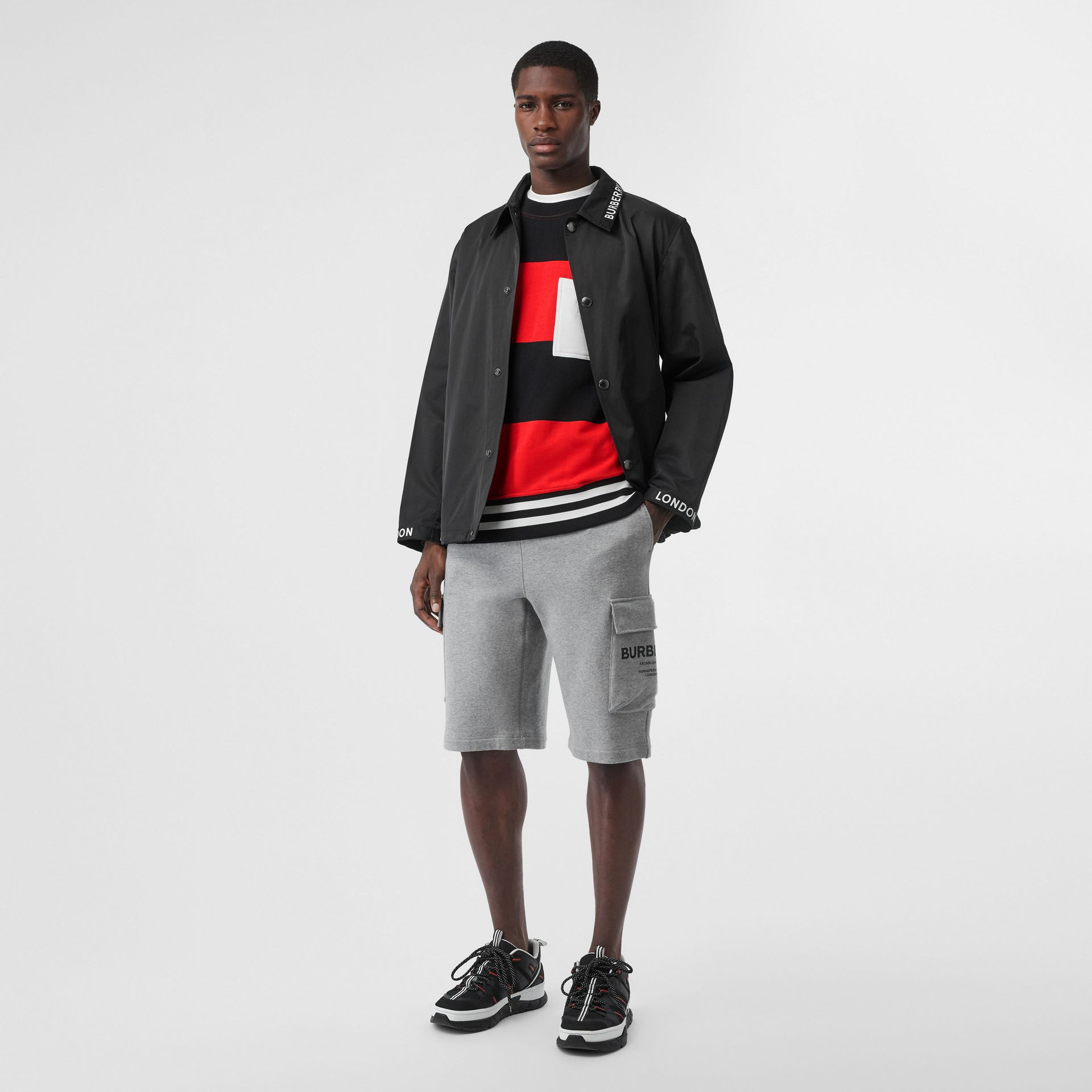 Sweat-shirt en coton à rayures rugby (Rouge Vif) - Homme | Burberry Canada - photo de la galerie 4