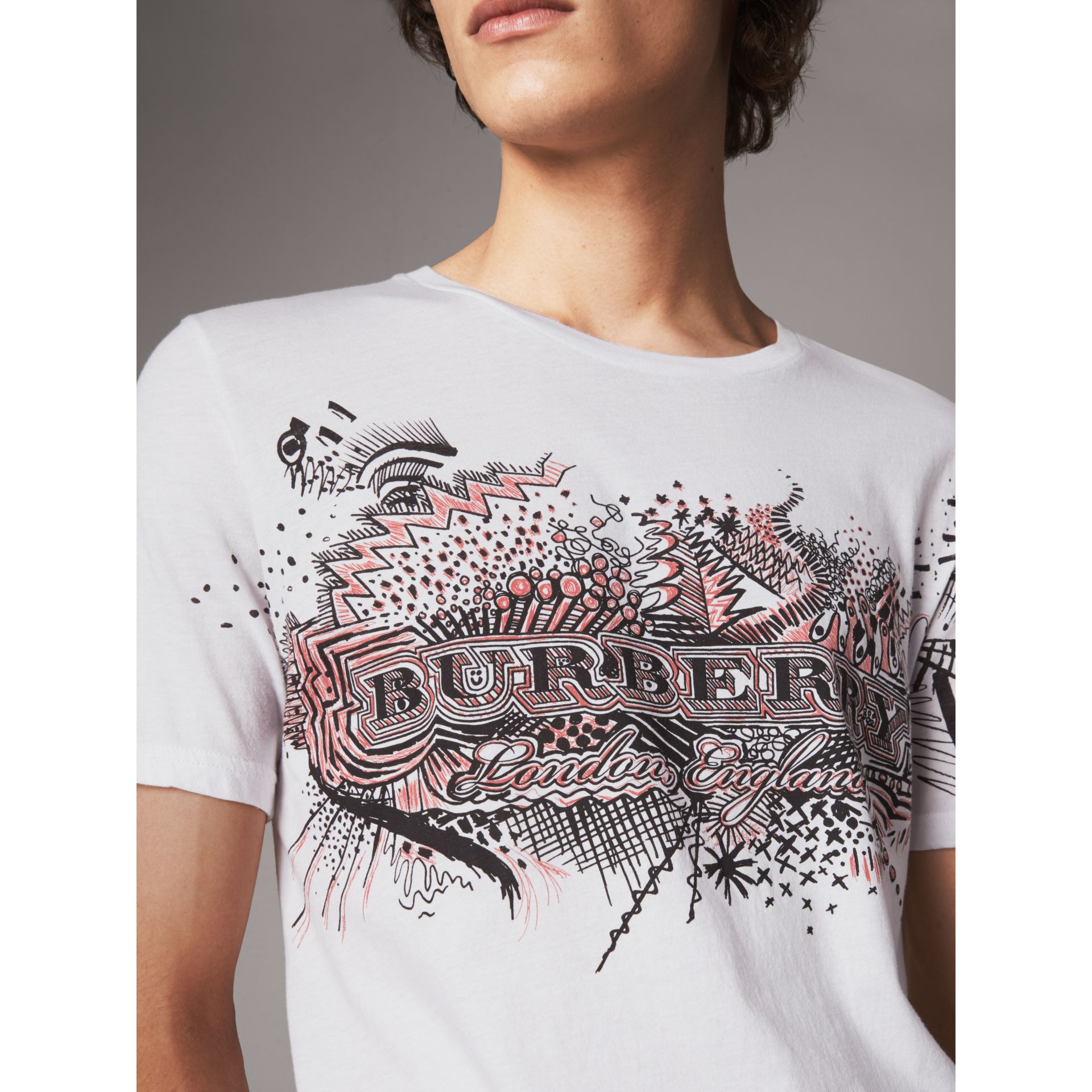 Doodle Print Cotton T-Shirt in White - Men | Burberry - gallery image 1
