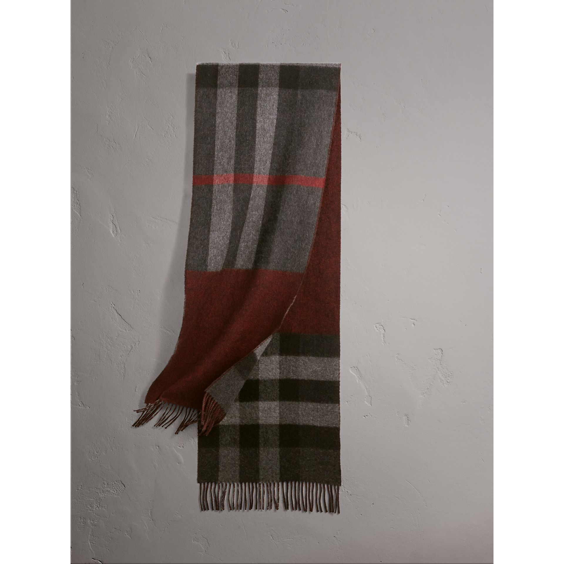 Reversible Check and Melange Cashmere Scarf in Charcoal | Burberry - gallery image 1