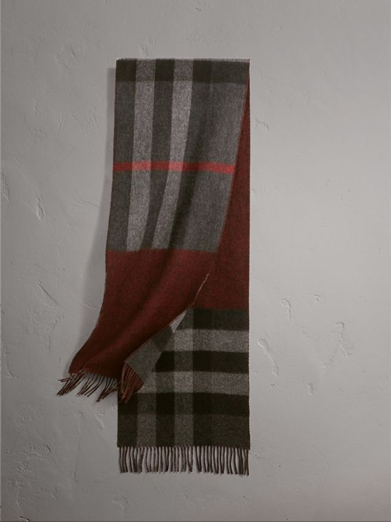 Reversible Check and Melange Cashmere Scarf in Charcoal