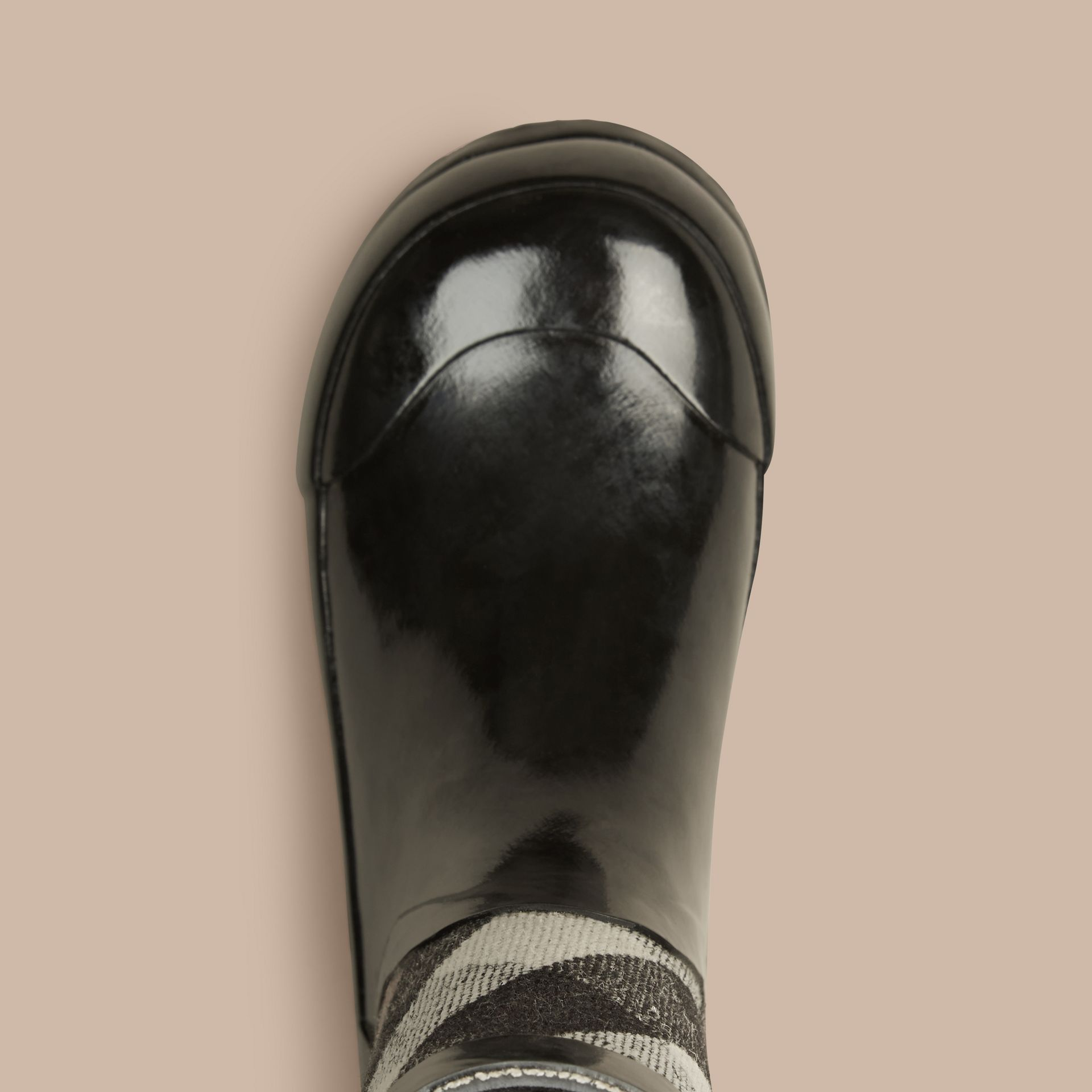 House Check Panel Rain Boots in Black | Burberry Canada - gallery image 3