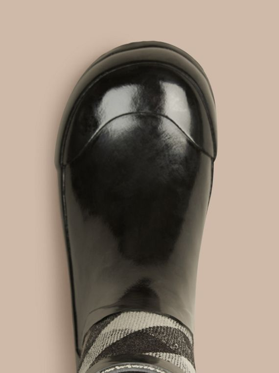 House Check Panel Rain Boots in Black | Burberry Canada - cell image 2