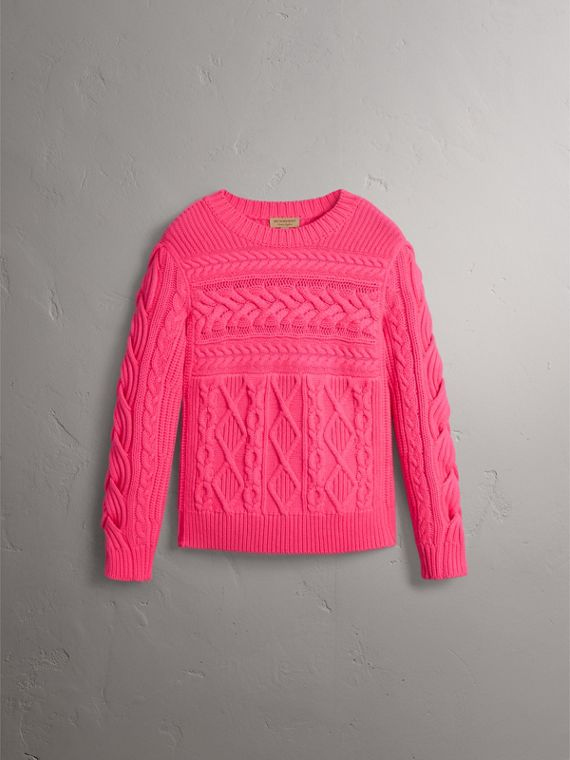 Aran Knit Wool Cashmere Sweater in Bright Rose Pink - Women | Burberry Singapore - cell image 3