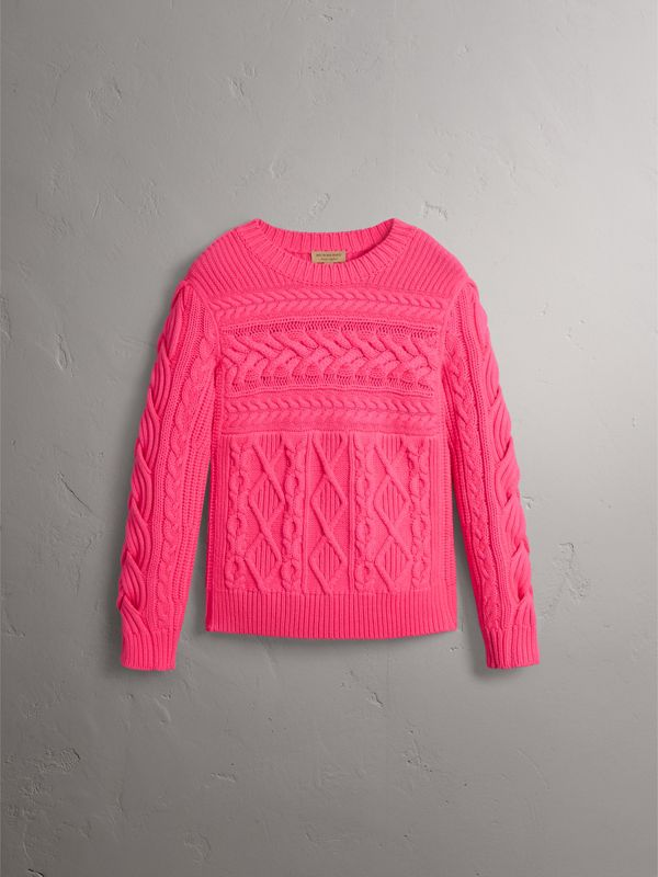 Aran Knit Wool Cashmere Sweater in Bright Rose Pink - Women | Burberry - cell image 3