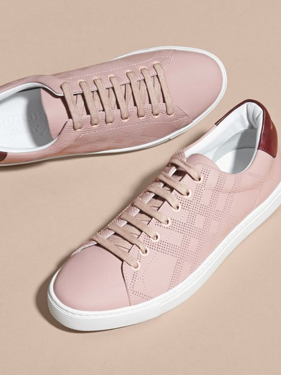 Rose pink/deep claret melange Perforated Check Leather Trainers Rose Pink/deep Claret Melange - cell image 2