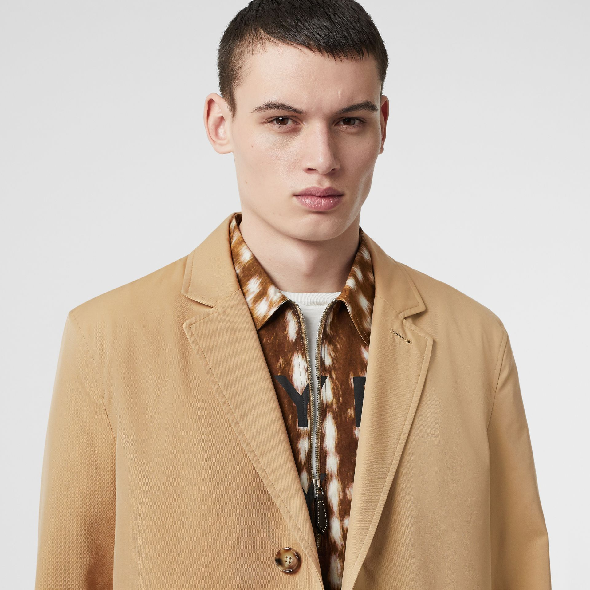Cotton Gabardine Car Coat in Honey - Men | Burberry Hong Kong - gallery image 1
