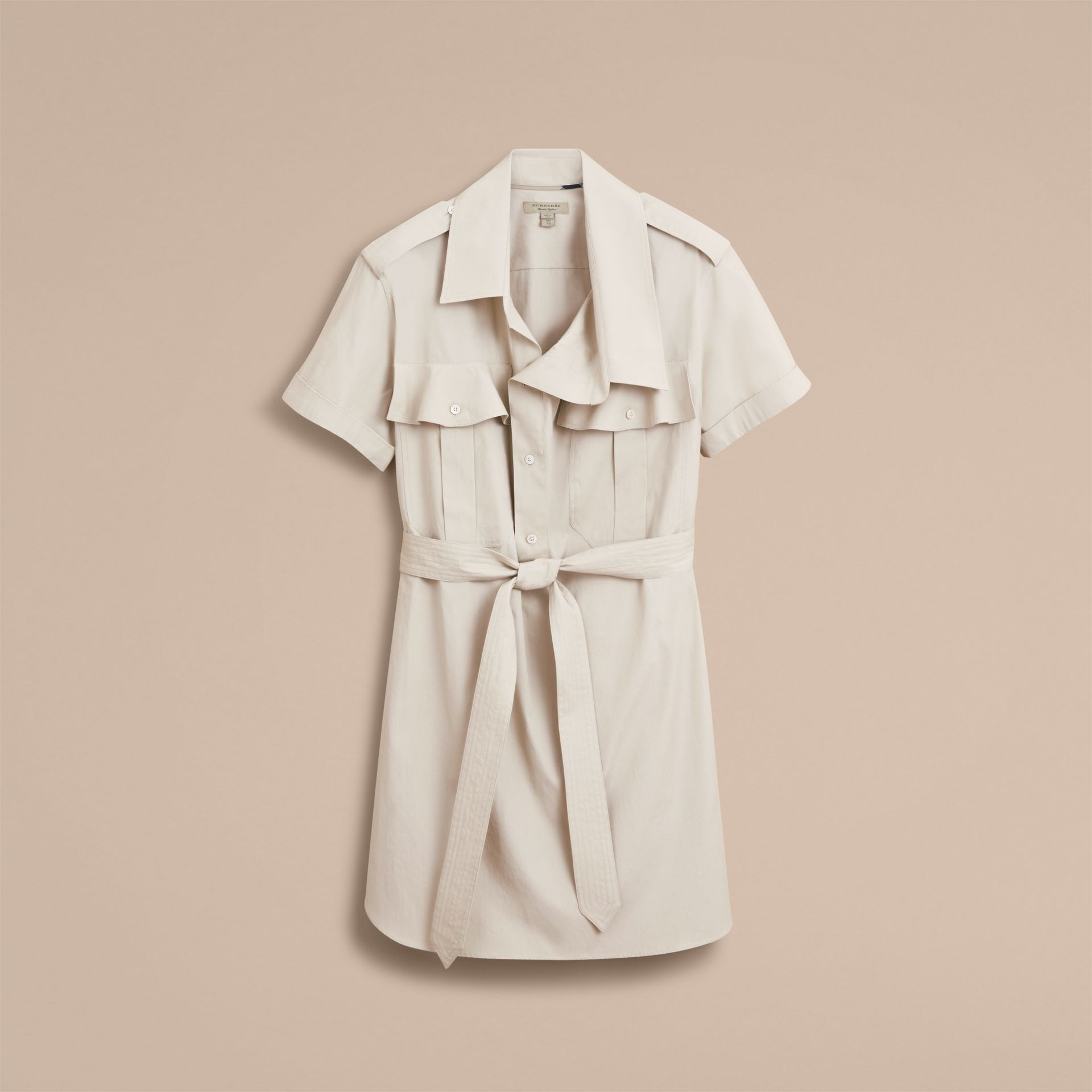 Tie-waist Cotton Shirt Dress in Stone - Women | Burberry Canada - gallery image 4