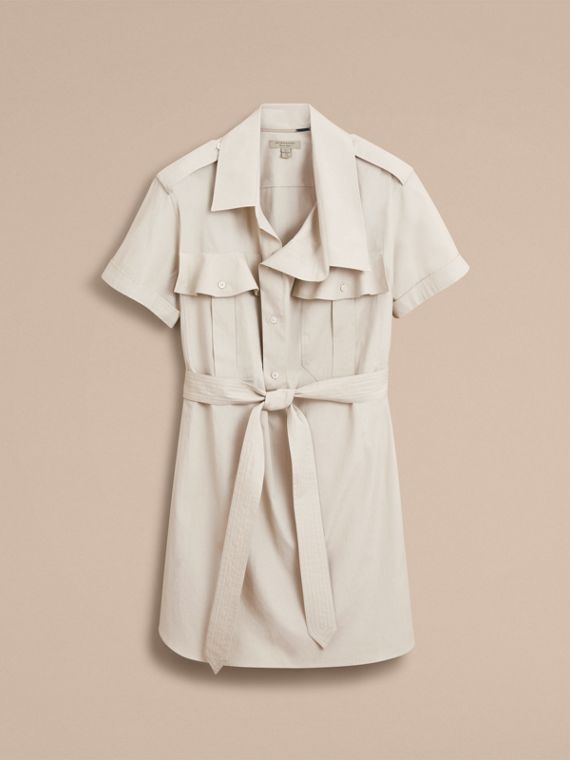 Tie-waist Cotton Shirt Dress in Stone - Women | Burberry Canada - cell image 3
