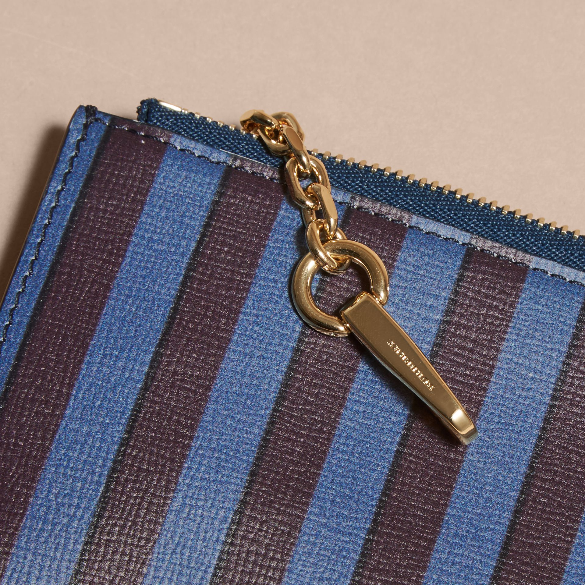 Navy Pyjama Stripe London Leather Zip-top Wallet - gallery image 2