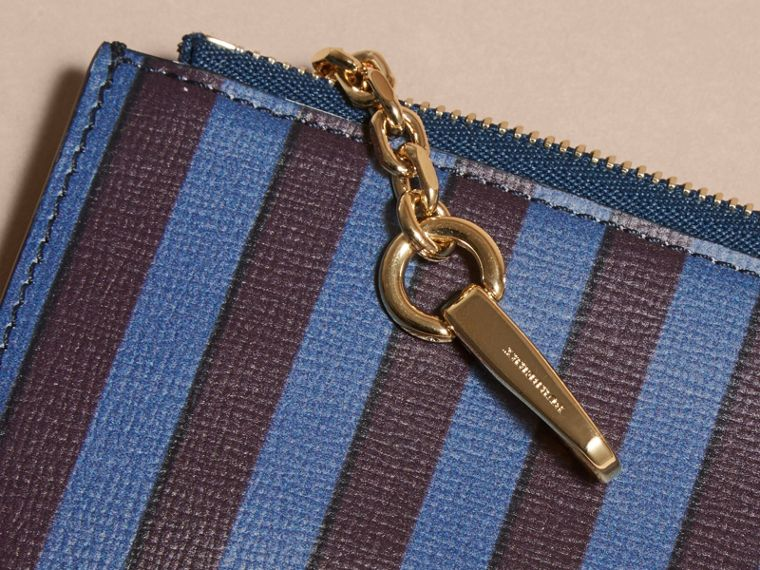 Navy Pyjama Stripe London Leather Zip-top Wallet - cell image 1