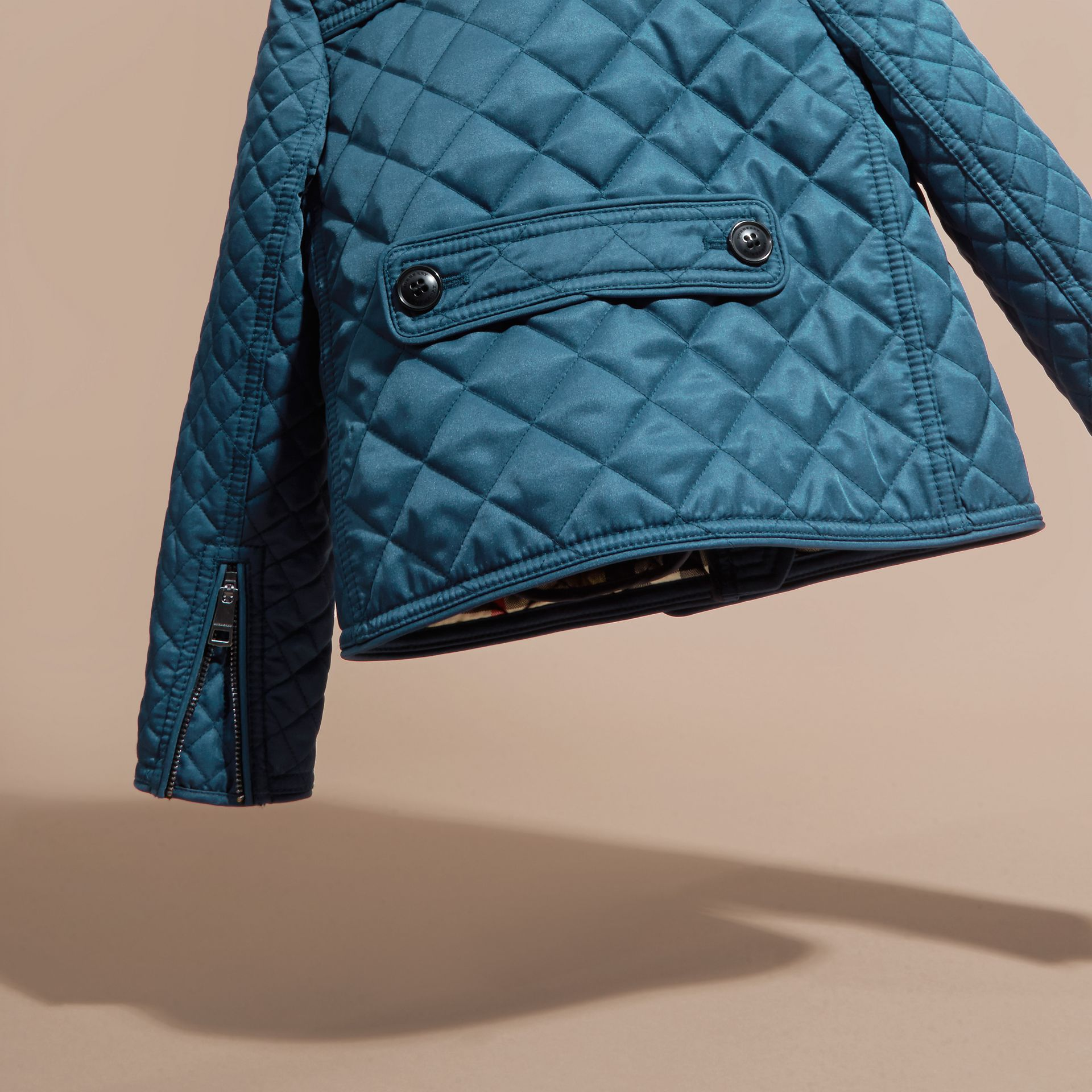 Pale indigo Collarless Diamond Quilted Jacket Pale Indigo - gallery image 4