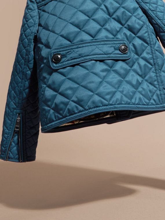 Pale indigo Collarless Diamond Quilted Jacket Pale Indigo - cell image 3