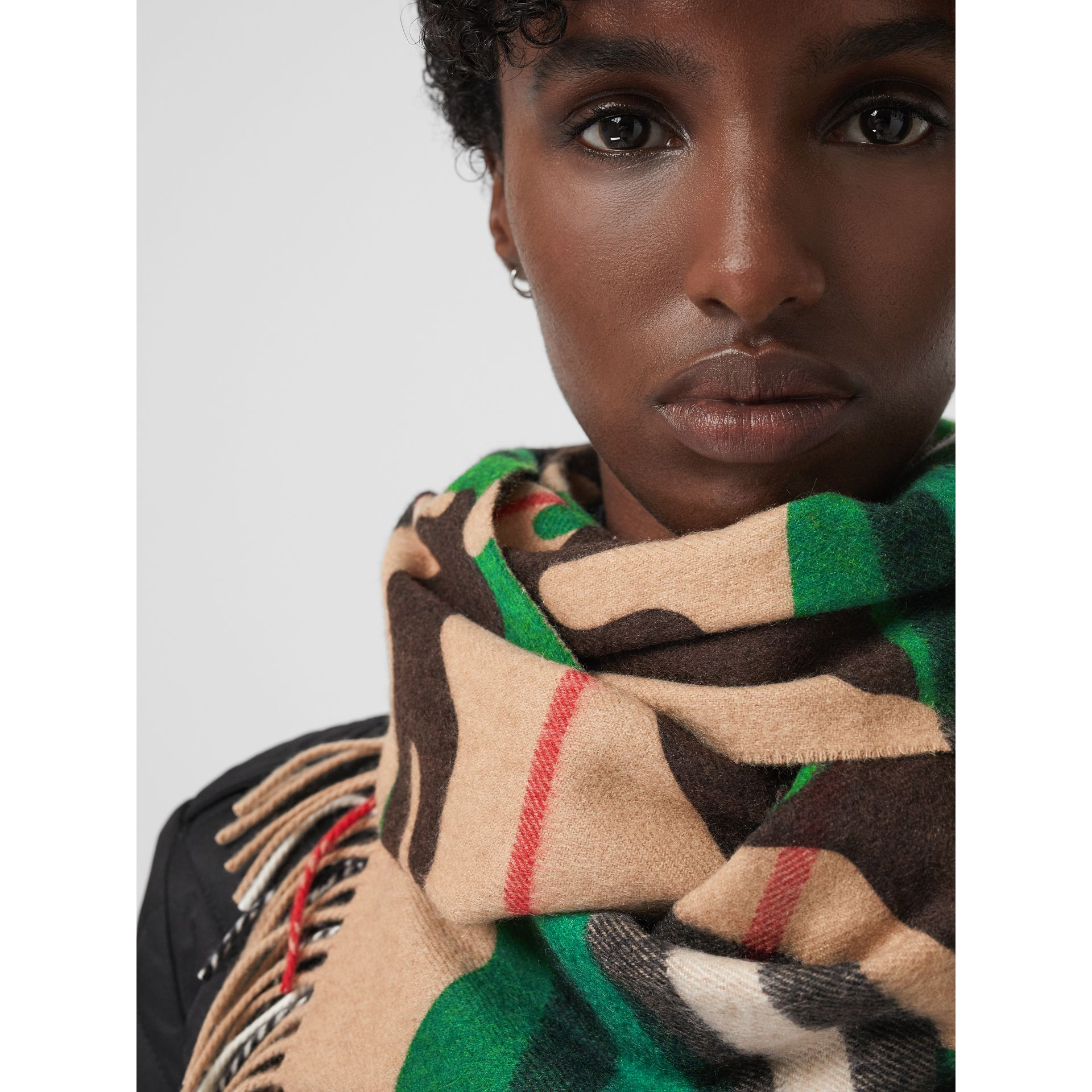 The Classic Camouflage Check Cashmere Scarf in Khaki | Burberry - gallery image 5