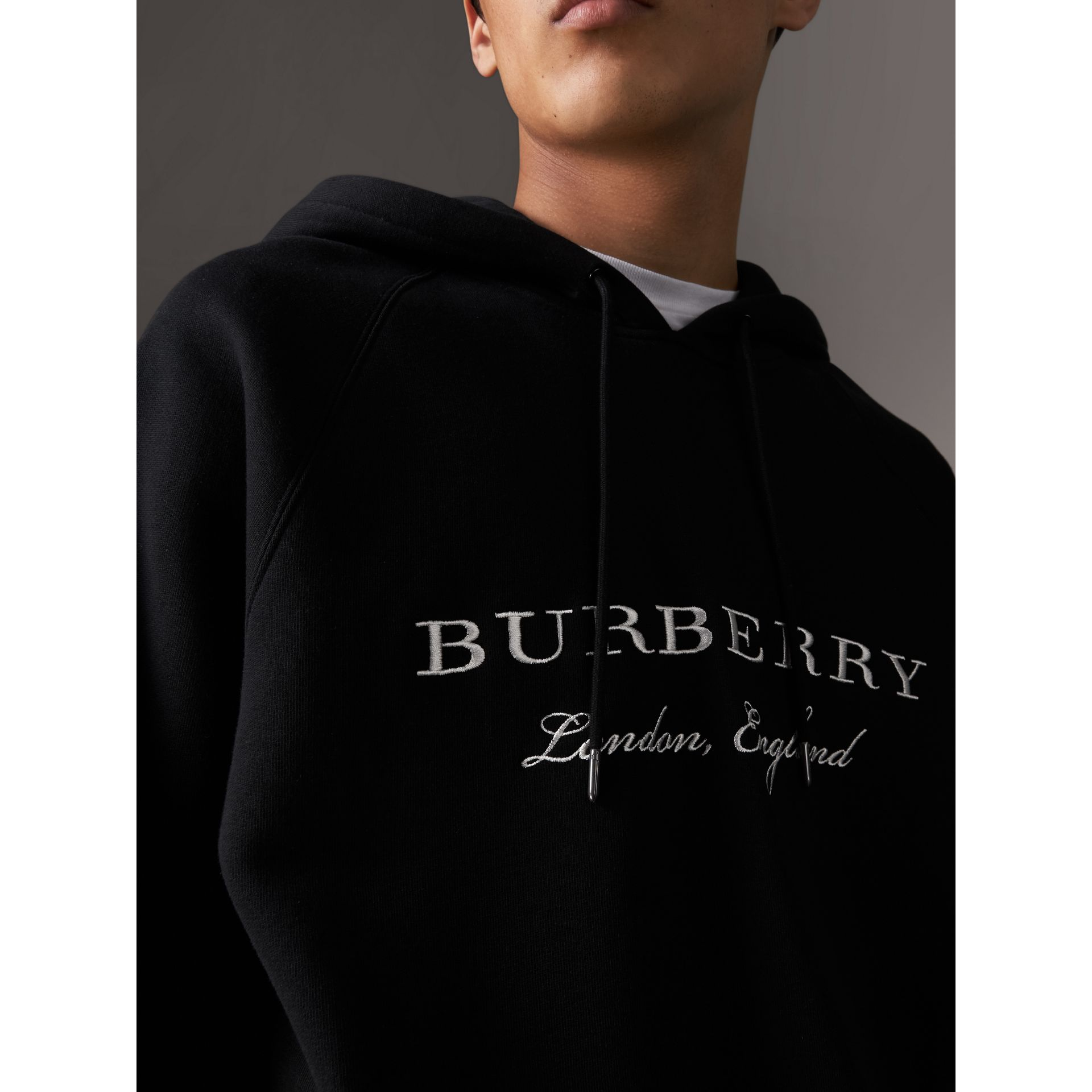 Embroidered Hooded Sweatshirt in Black - Men | Burberry United States - gallery image 1