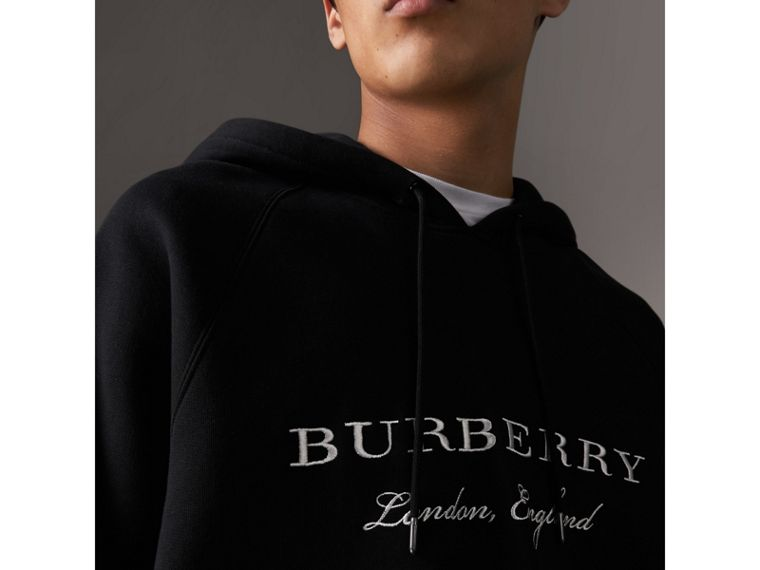 Embroidered Hooded Sweatshirt in Black - Men | Burberry United States - cell image 1
