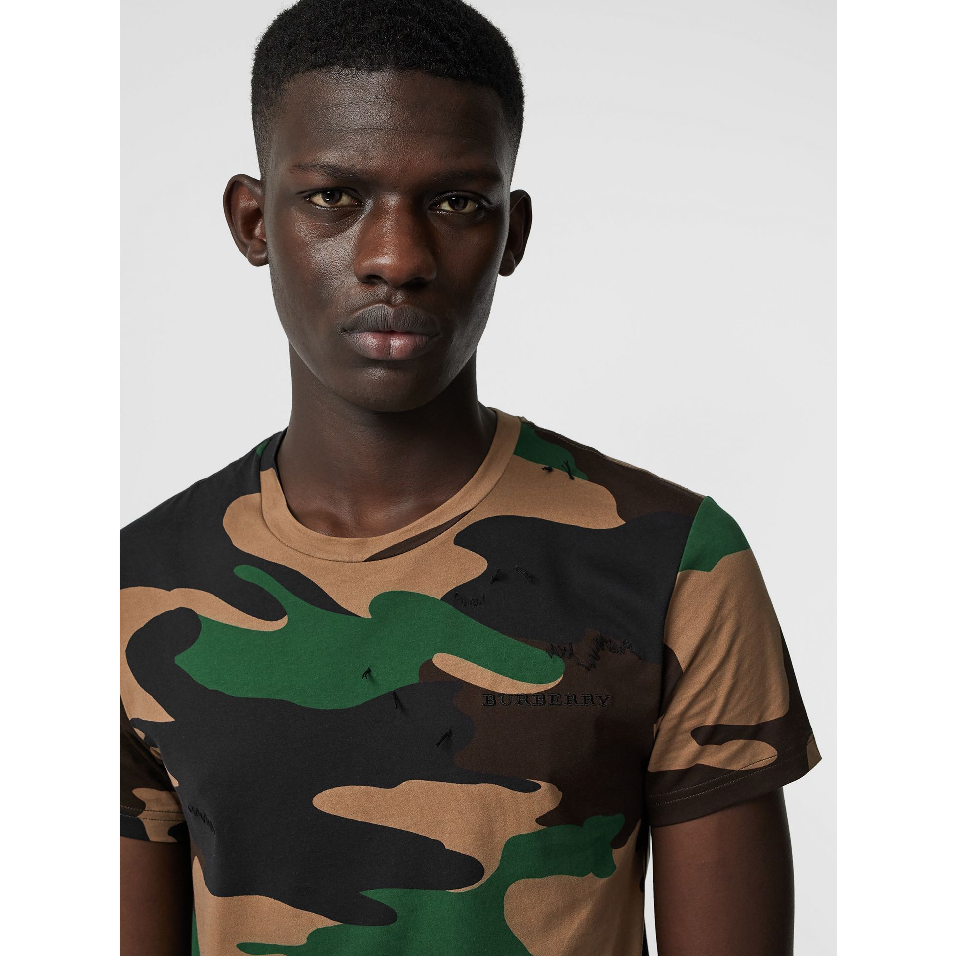 Camouflage Print Cotton T-shirt in Forest Green - Men | Burberry Singapore - gallery image 1