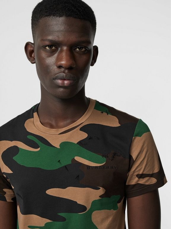 Camouflage Print Cotton T-shirt in Forest Green - Men | Burberry Australia - cell image 1
