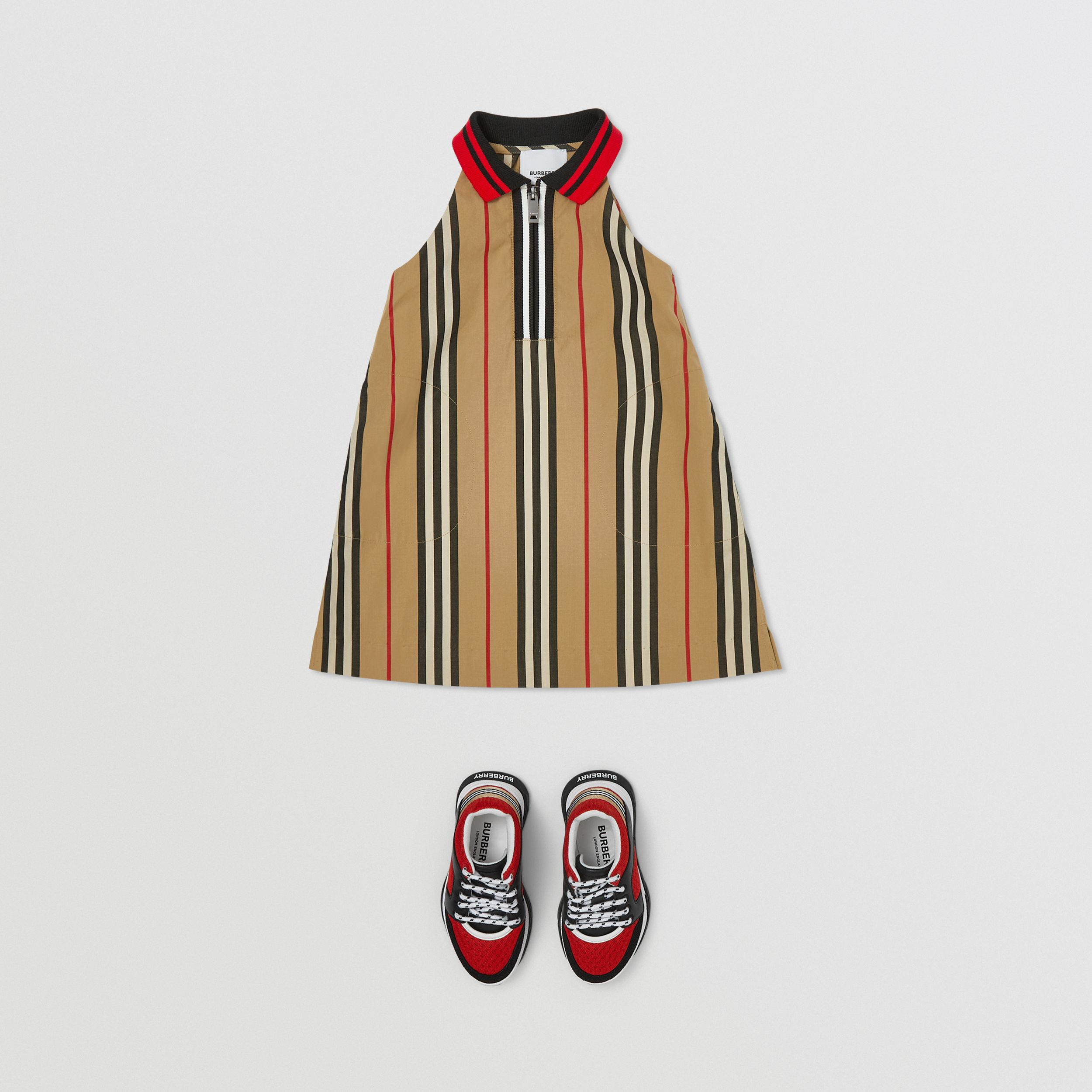 Icon Stripe Cotton Poplin Zip-front Dress in Archive Beige - Children | Burberry United Kingdom - 3