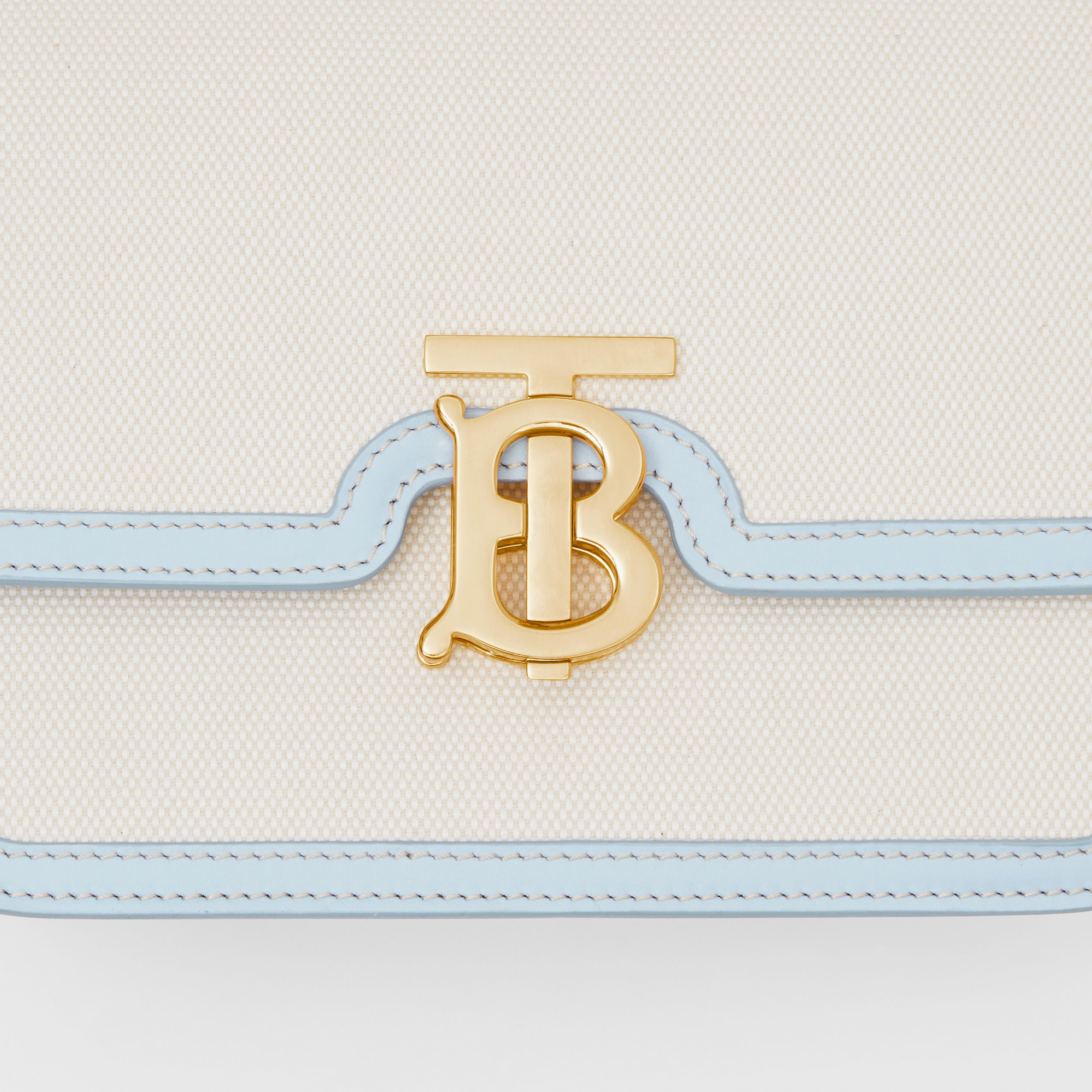 Small Two-tone Canvas and Leather TB Bag in Natural/pale Blue - Women | Burberry - 2