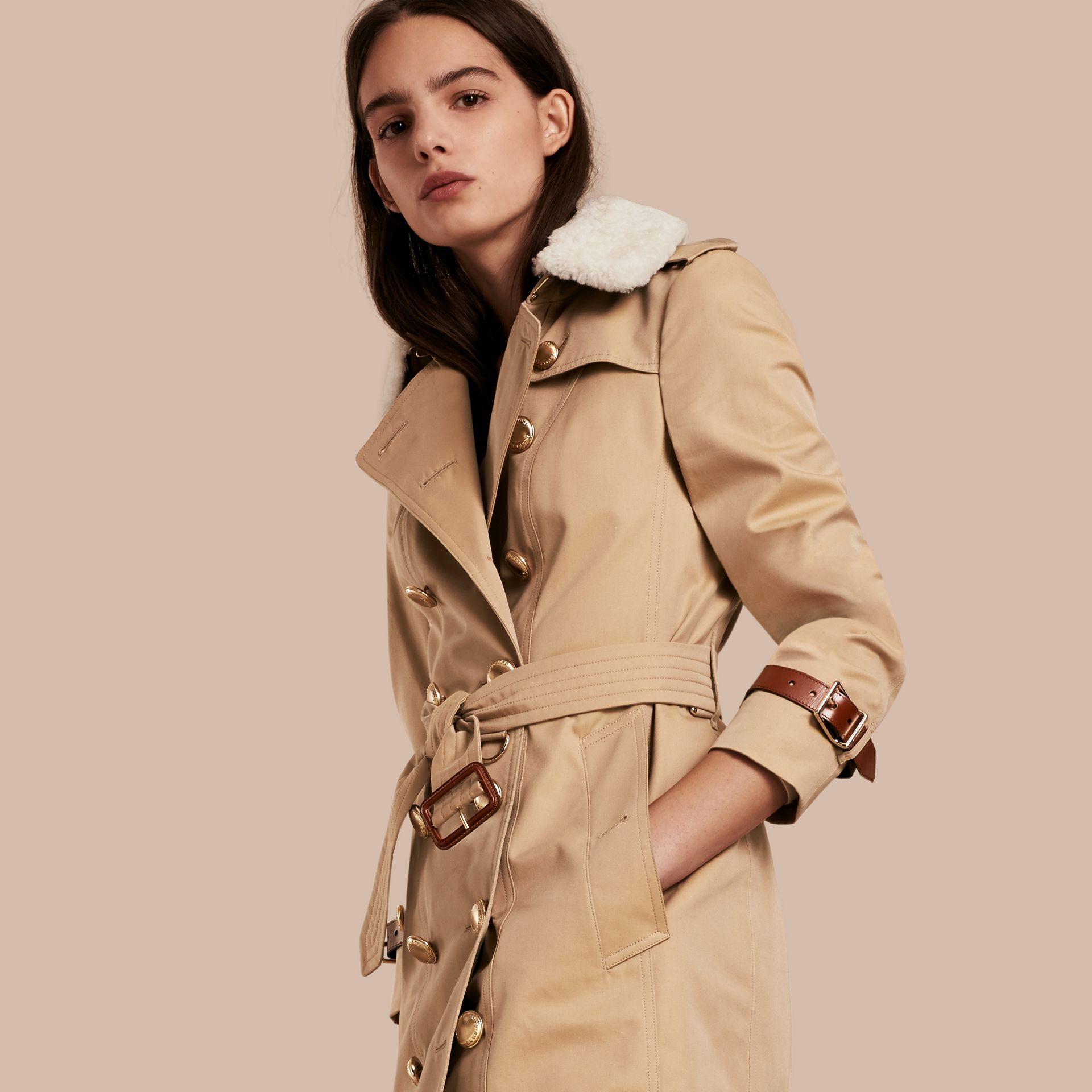 Honey Leather Trim Trench Coat with Detachable Shearling Collar - gallery image 1