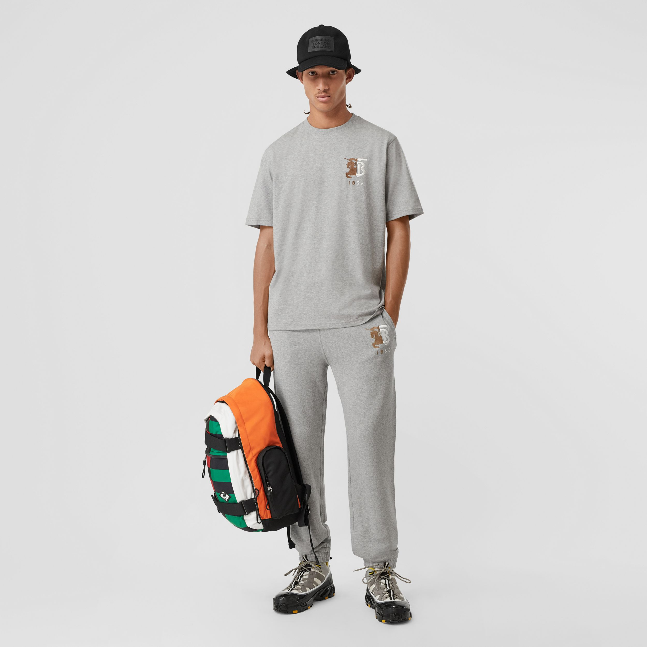 Contrast Logo Graphic Cotton Trackpants in Pale Grey Melange - Men | Burberry - 1