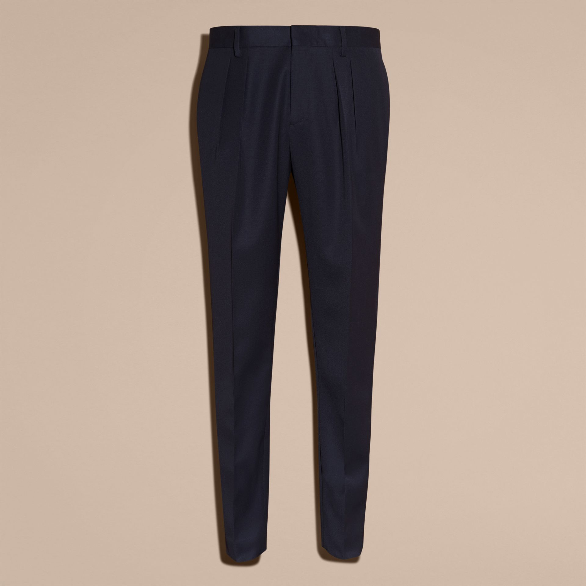 Modern Fit English Wool Tailored Trousers Ink - gallery image 4