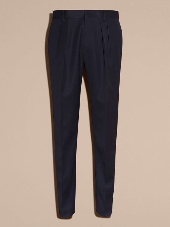 Modern Fit English Wool Tailored Trousers Ink - cell image 3