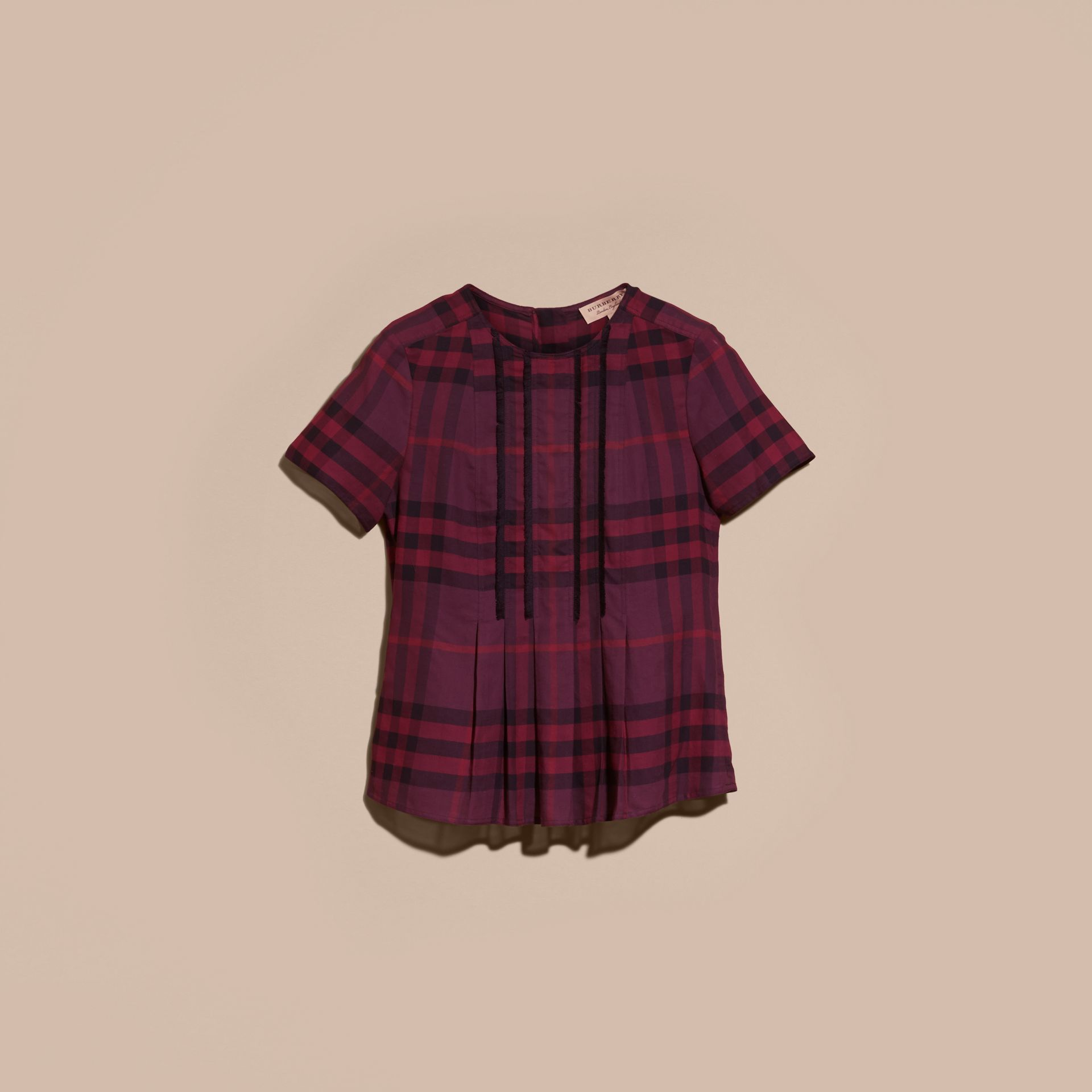Blackcurrant Short-sleeved Fringed Check Cotton Top Blackcurrant - gallery image 4