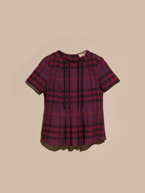 Blackcurrant Short-sleeved Fringed Check Cotton Top Blackcurrant - cell image 3