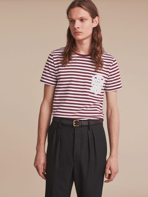 Lace Appliqué Detail Breton Stripe Cotton T-shirt Burgundy/white