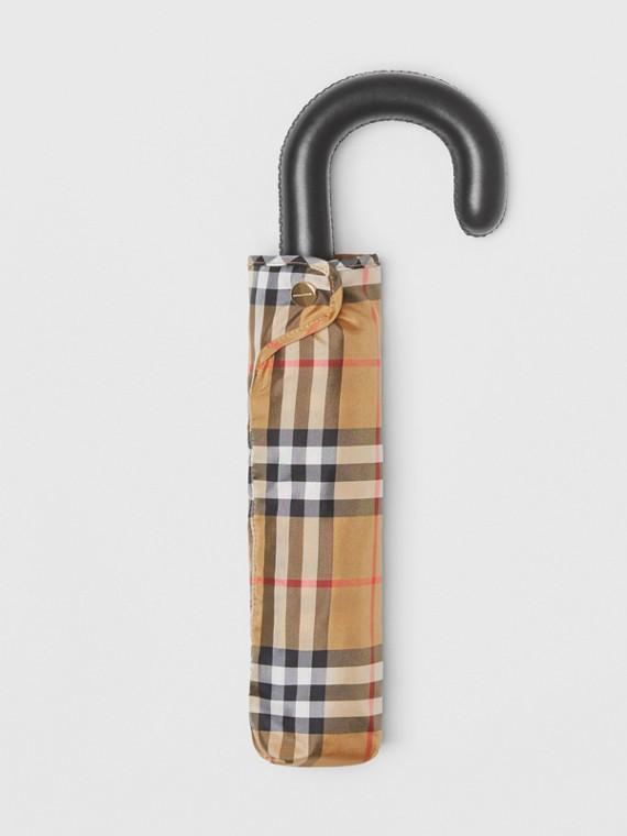 Taschenschirm mit Vintage Check-Muster (Antikgelb/schwarz)