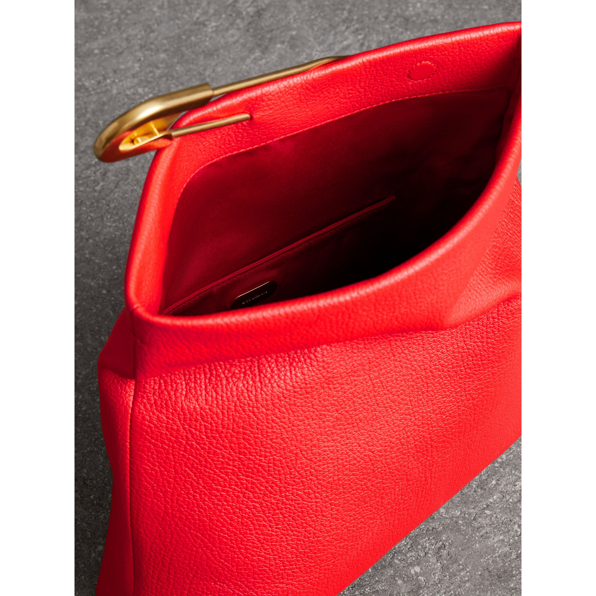 The Medium Pin Clutch in Leather in Bright Red - Women | Burberry United Kingdom - gallery image 5