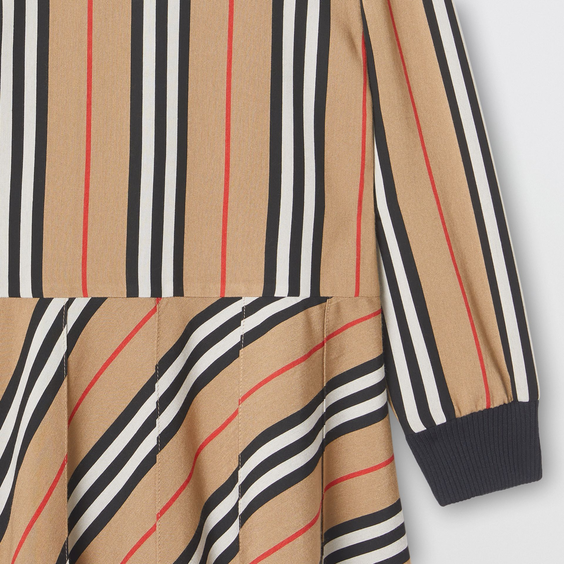 Long-sleeve Icon Stripe Turtleneck Dress in Archive Beige | Burberry Australia - gallery image 4